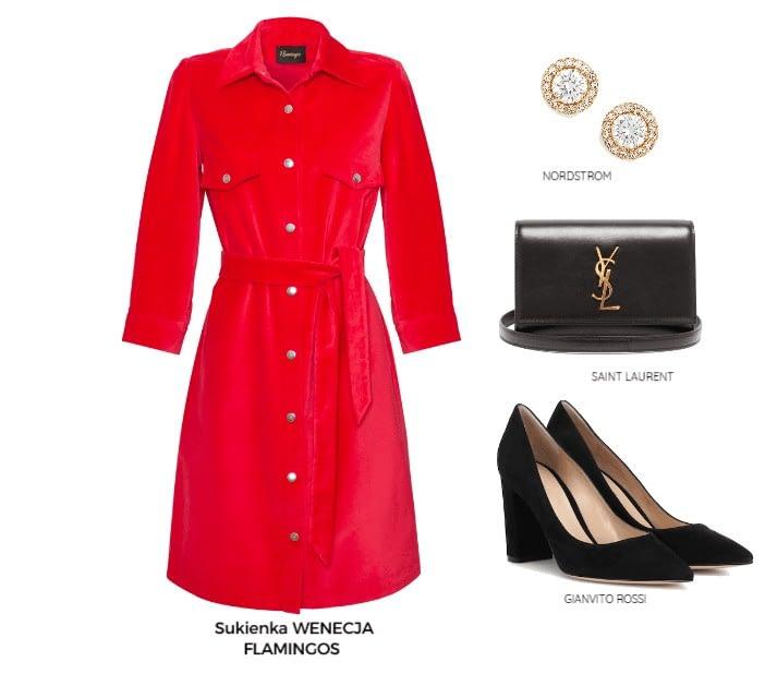 sukienka koszulowa czerwona z aksamitu obowiązkowy model zestawienie jak ją nosić elegancko