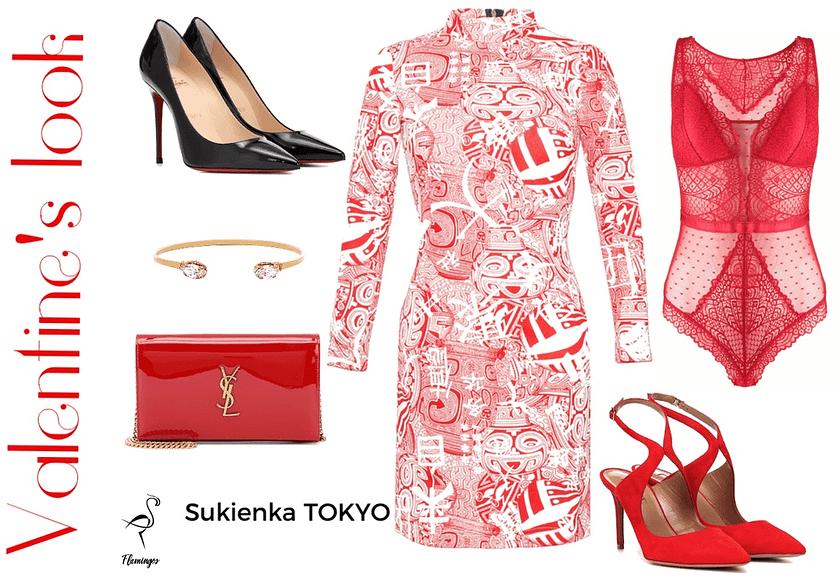 zestawienie stroju na walentynki sukienka tuba tokyo marki flamingos
