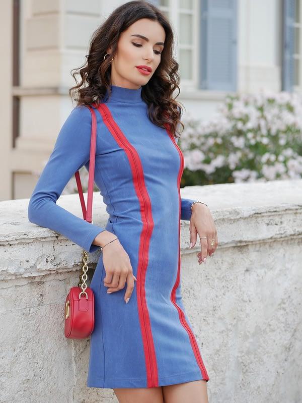 niebieska elastyczna sukienka tuba z tencelu i bawełnytuba