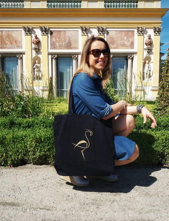 Czarna Ekologiczna torba bawełniana z haftem