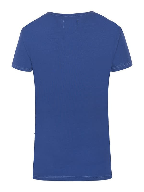 niebieski - klasyczny t-shirt damski z bawełny supima