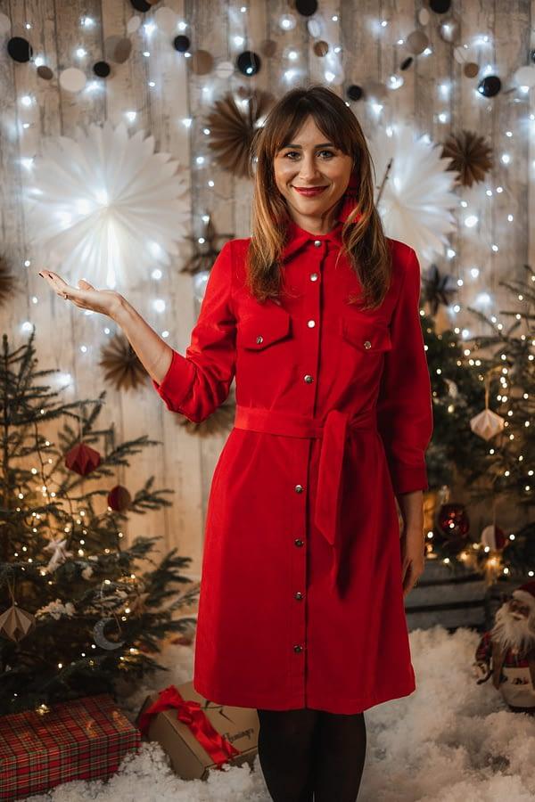 wenecja aksamitna sukienka koszulowa czerwona