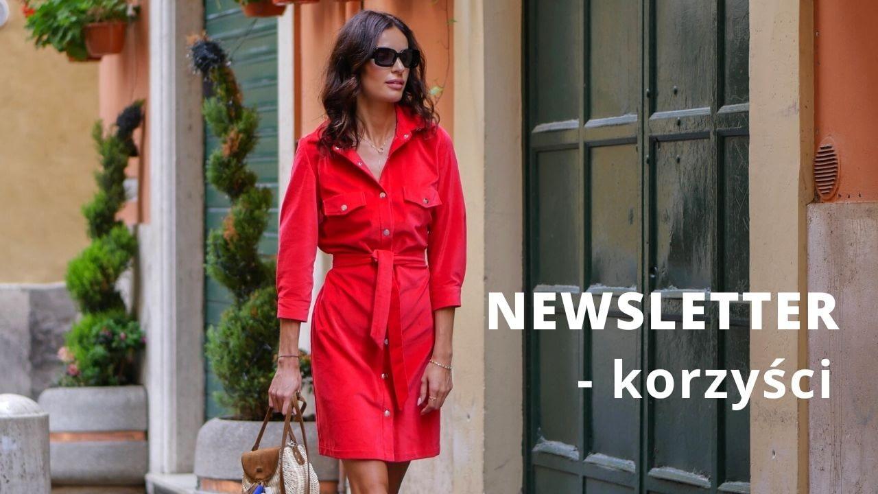 czerwona sukienka koszulowa