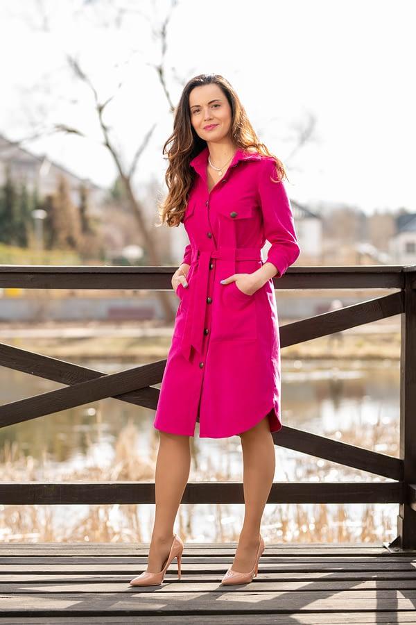 różowa sukienka koszulowa flamingos
