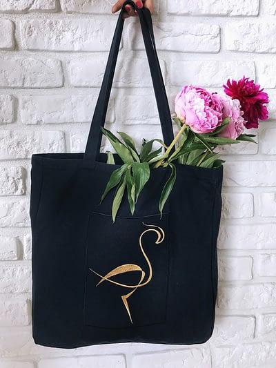 Czarna ekologiczna bawełniana torba Flamingos