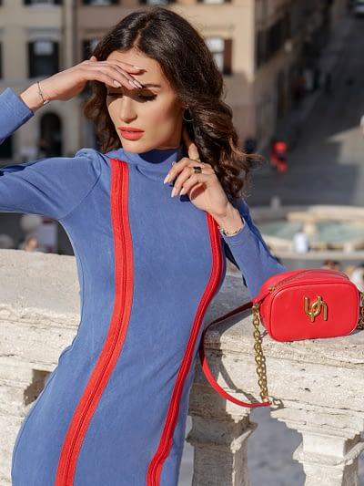 elastyczna sukienka tuba z tencelu i bawełny