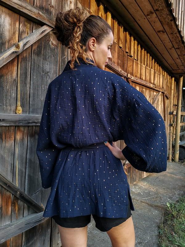 kimono damskie z muślinu granatowego