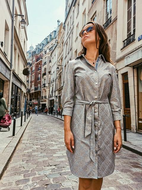 Sukienka koszulowa szara jasna premium