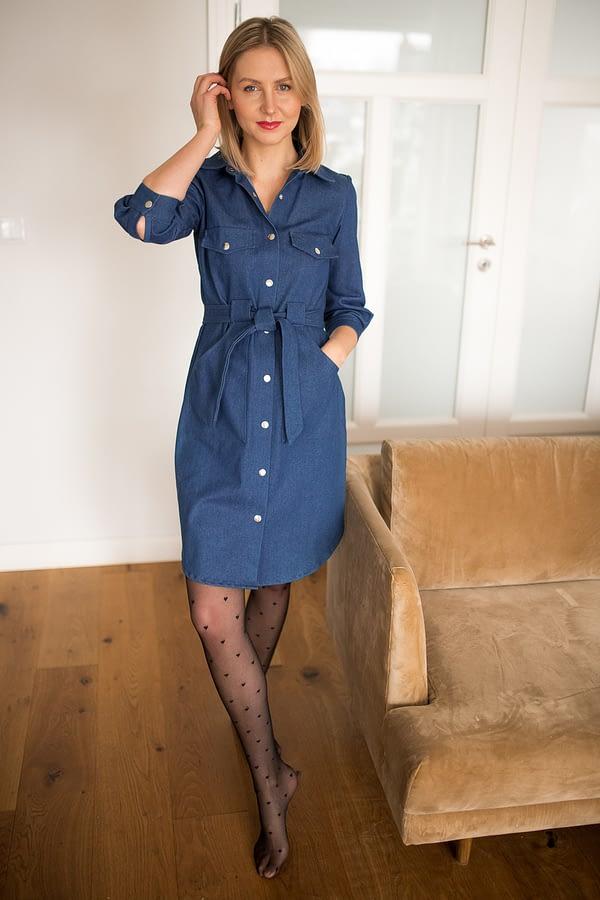 jeansowa sukienka koszulowa premium