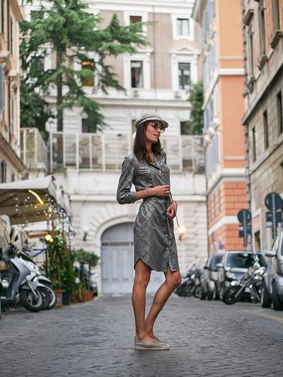 Szara klasyczna sukienka koszulowa z modalu