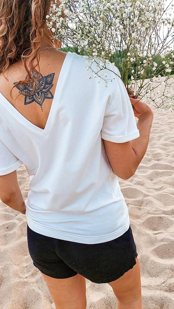 BASICOWY biały T-shirt Z MODALU – BIANCO