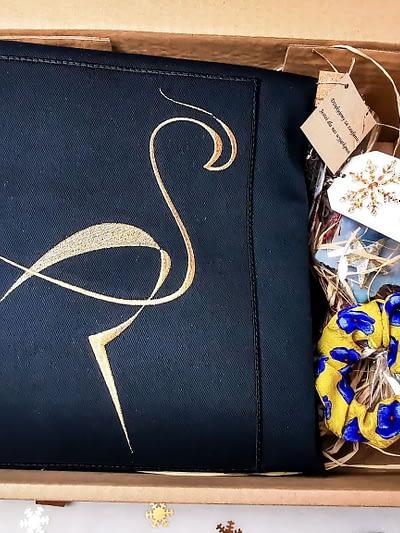 zestaw prezentowy eko torba bawełniana i jedwabna gumka do włosów