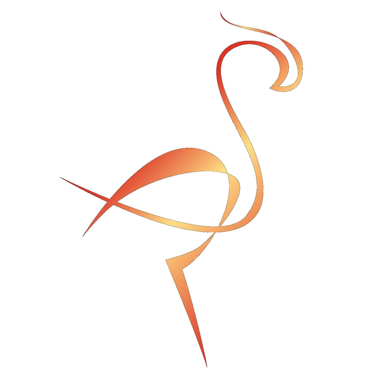 Złote logo flaminga na białym tle - kobiece sukienki z naturalnych tkanin