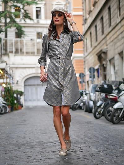 Szara klasyczna sukienka koszulowa z modalu- elegancka szmizjerka