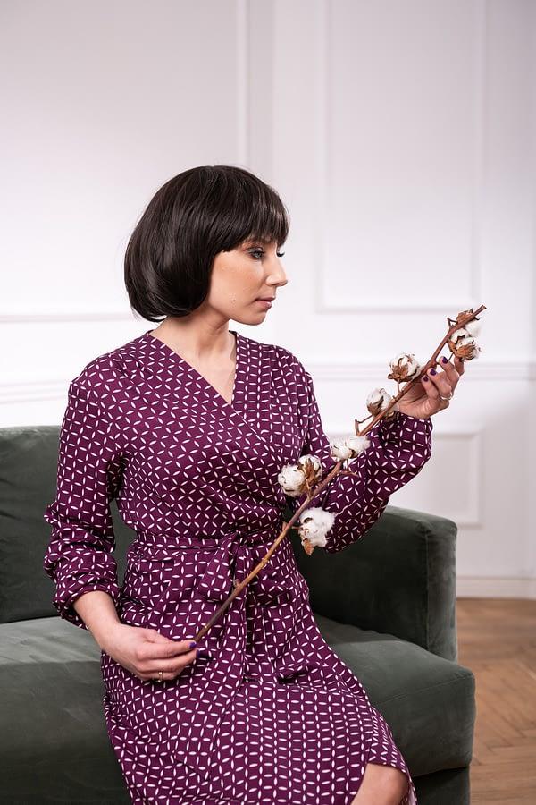 Elegancka wiązana sukienka kopertowa - VICHY