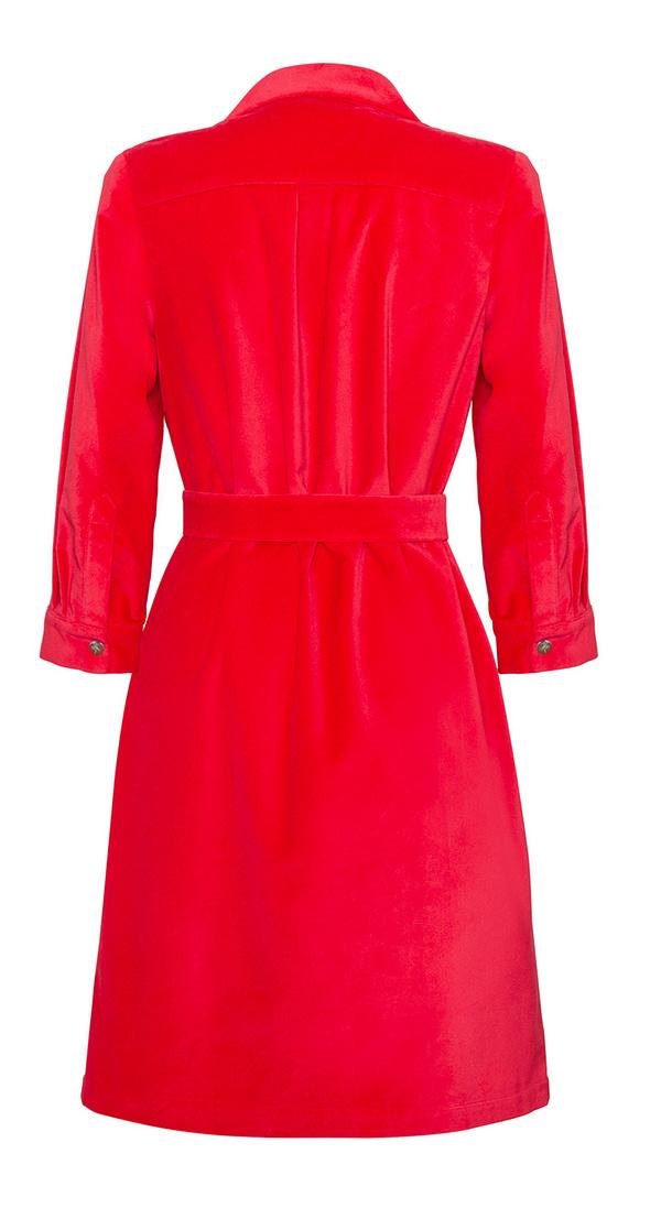 sukienka-czerwona-szmizjerka-z-paskiem