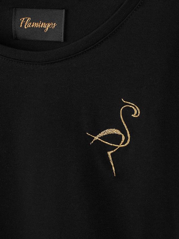 czarny - klasyczny t-shirt damski z bawełny supima